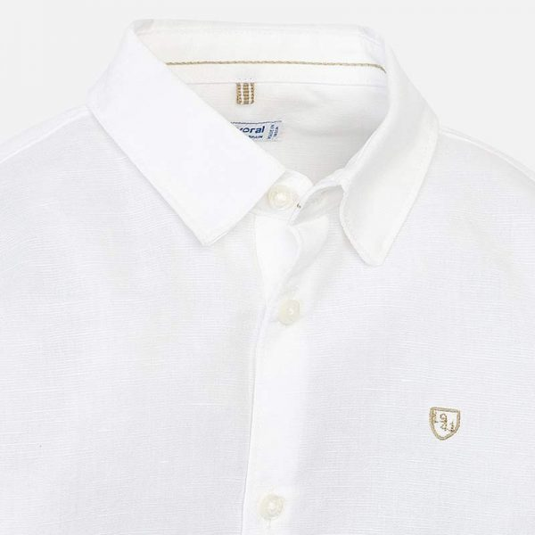 Mayoral Boys Linen White Shirt Closeup