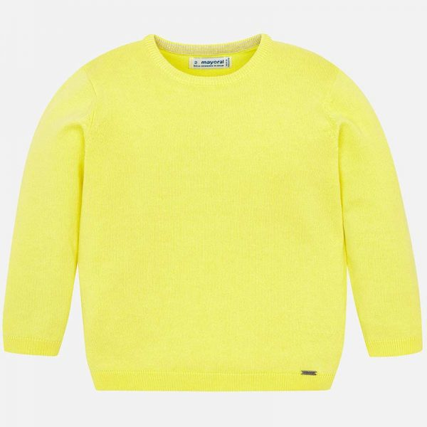 Mayoral Boys Yellow Knitted Sweater Front