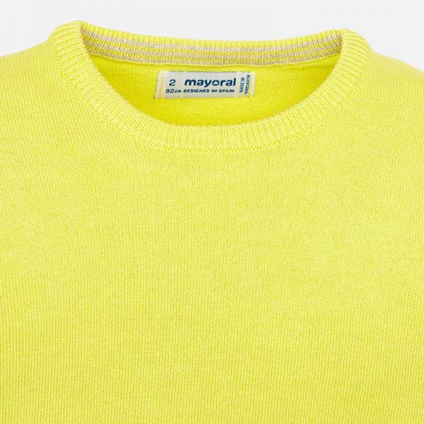 Mayoral Boys Yellow Knitted Sweater Closeup