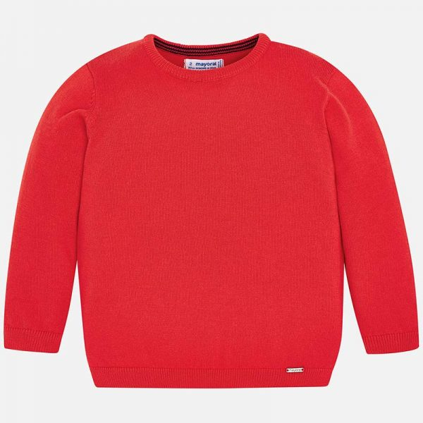 Mayoral Boys Red Knitted Sweater Front
