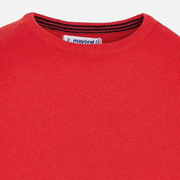 Mayoral Boys Red Knitted Sweater Closeup