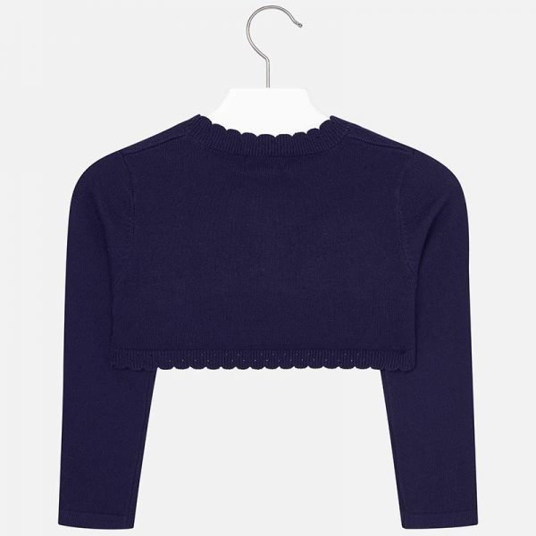 Girls Knitted Navy Bolero back