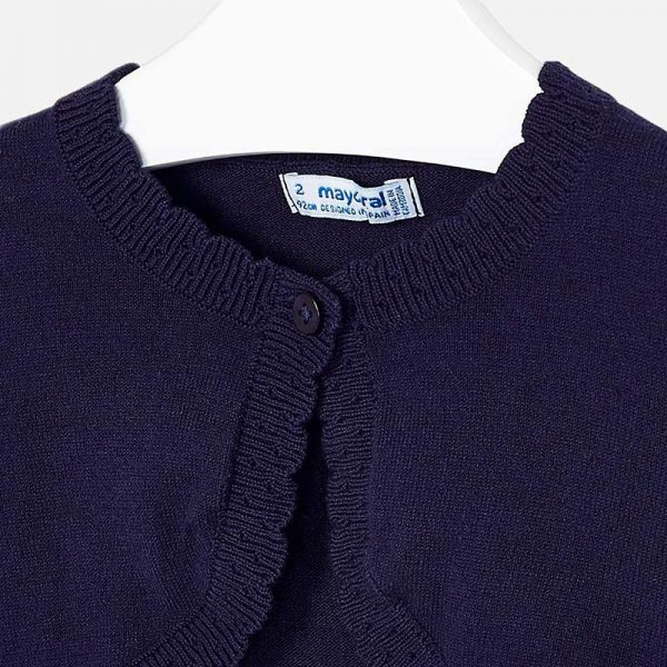 Girls Knitted Navy Bolero closeup