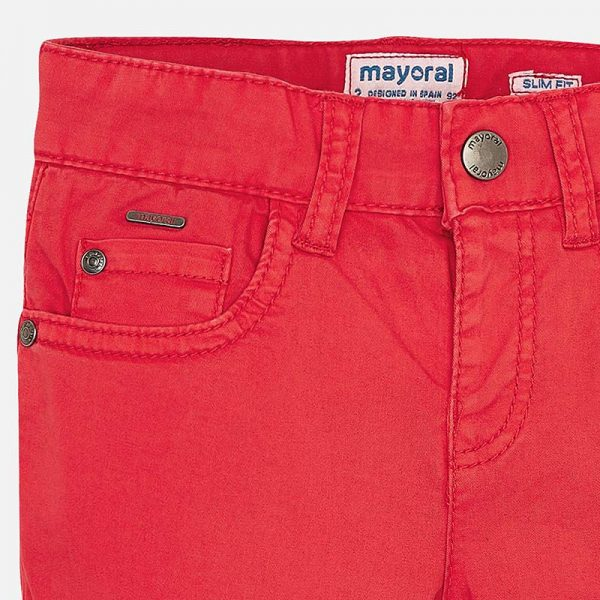 Mayoral Boys Slim Fit Pants Red Closeup