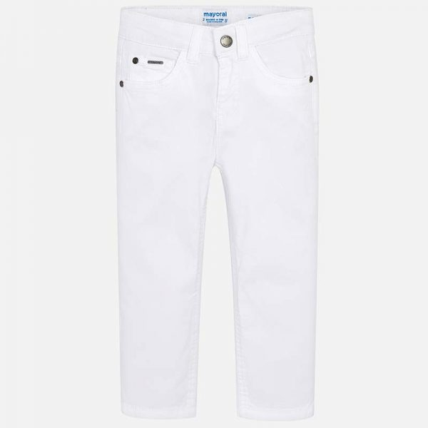 Mayoral Boys Slim Fit Pants White Front