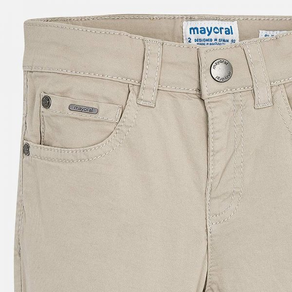 Mayoral Boys Slim Fit Pants Stone Closeup