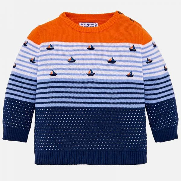 Boys Boat Knit Sweater Front