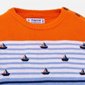 Boys Boat Knit Sweater Closeup