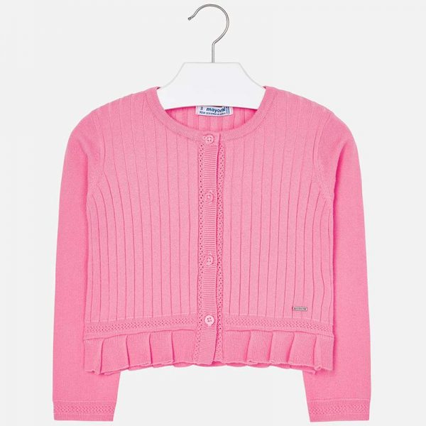 Girls Pink Knitted Cardigan Front