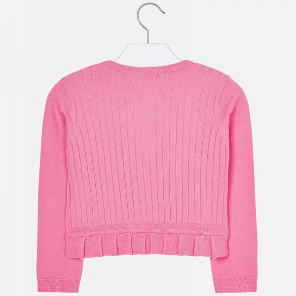 Girls Pink Knitted Cardigan Back