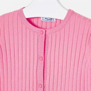 Girls Pink Knitted Cardigan Closeup