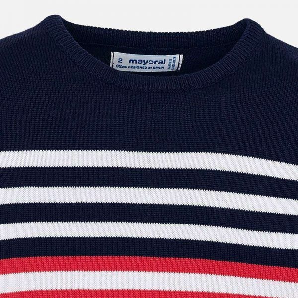 Mayoral Boys Tennis Knit sweater Striped Closeup