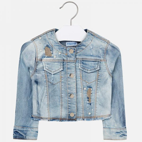 Mayoral Girls Denim Jacket Front