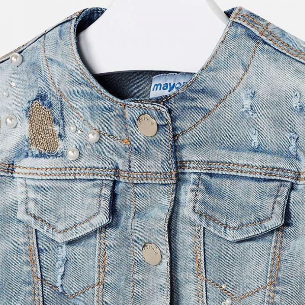 Mayoral Girls Denim Jacket Closeup