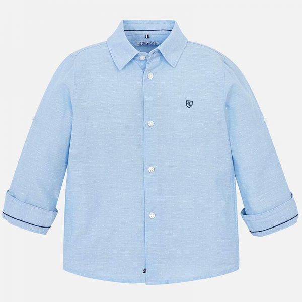 Mayoral Boys Linen Light Blue Shirt Front