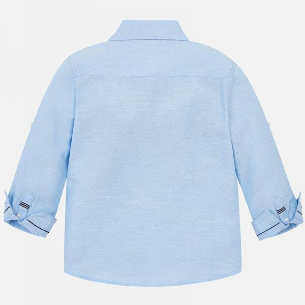 Mayoral Boys Linen Light Blue Shirt Back
