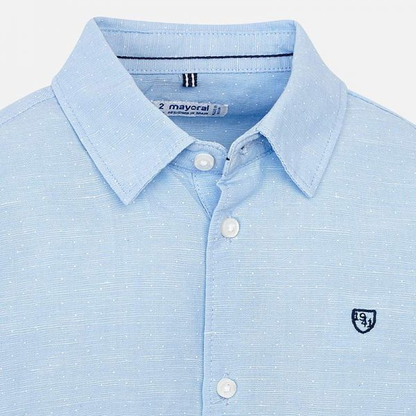 Mayoral Boys Linen Light Blue Shirt Closeup