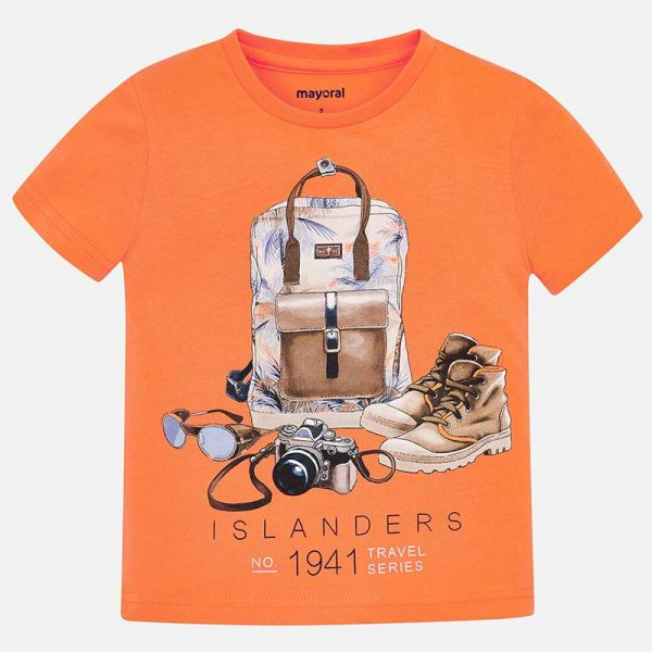Mayoral s/s back pack boys tshirt Front