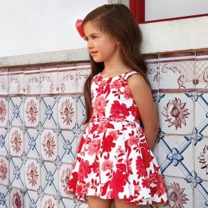 Mayoral Sleeveless Flower Print Dress
