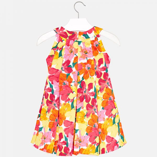 Mayoral Pleated Flower Dress Back