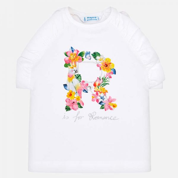 Mayoral Girls Sleeveless T-Shirt with Flower Print Front
