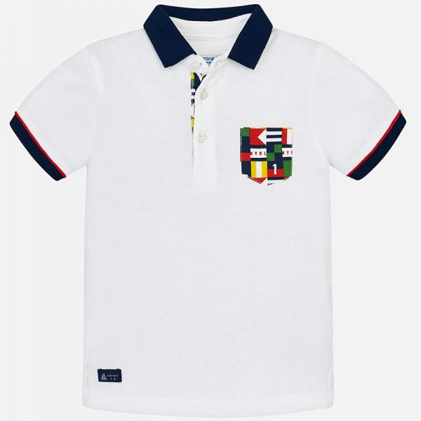 Mayoral Boys Polo short sleeved shirt white front