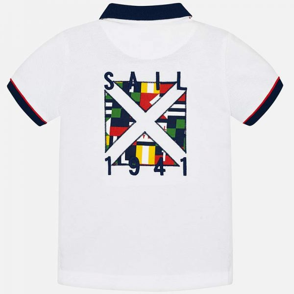 Mayoral Boys Polo short sleeved shirt white back