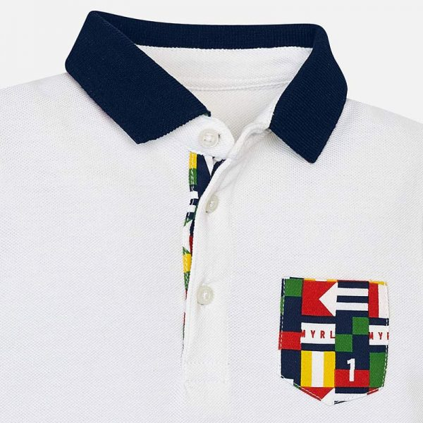 Mayoral Boys Polo short sleeved shirt white closeup