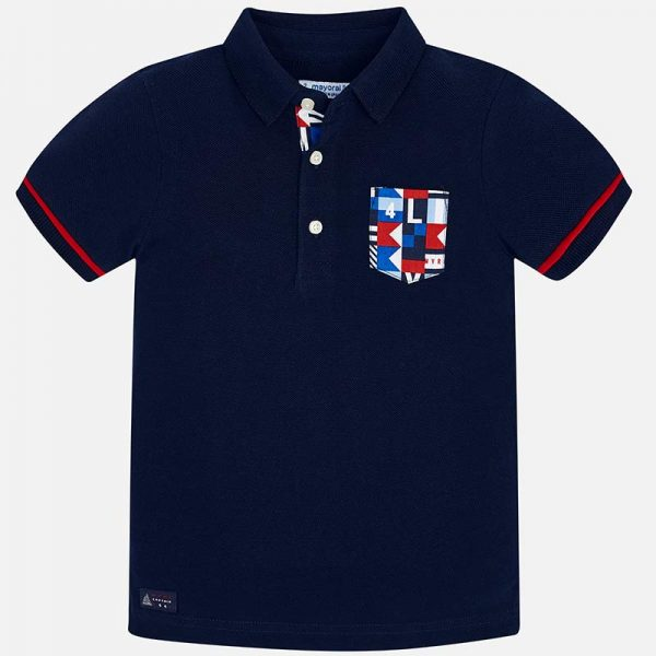 Mayoral Boys Polo short sleeved shirt navy front