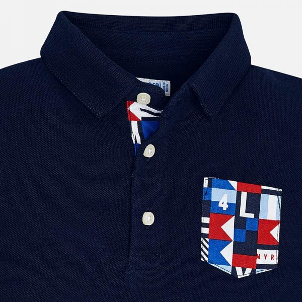 Mayoral Boys Polo short sleeved shirt navy closeup