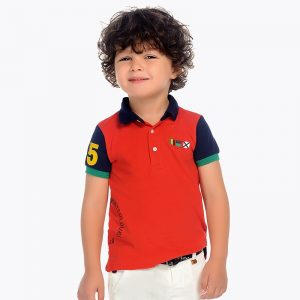 Mayoral Boys Polo short sleeved shirt with sleeve badge