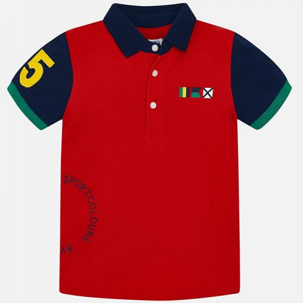 Mayoral Boys Polo short sleeved shirt with sleeve badge red front