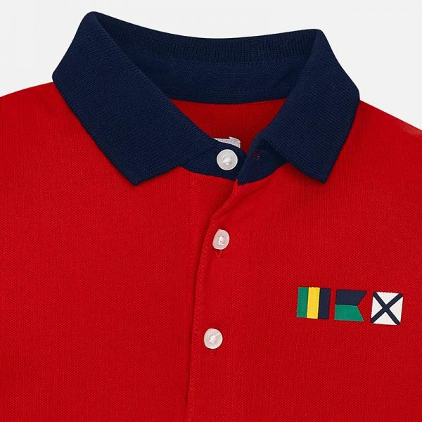 Mayoral Boys Polo short sleeved shirt with sleeve badge red closeup
