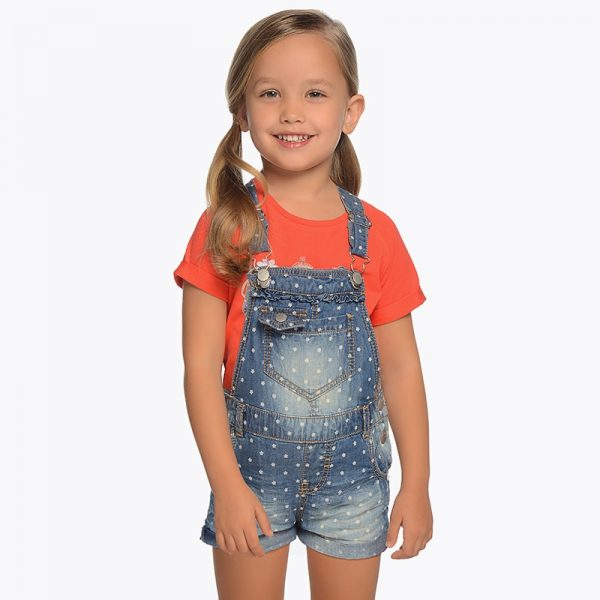 Mayoral Girls Polka Dot Denim Overall Shorts
