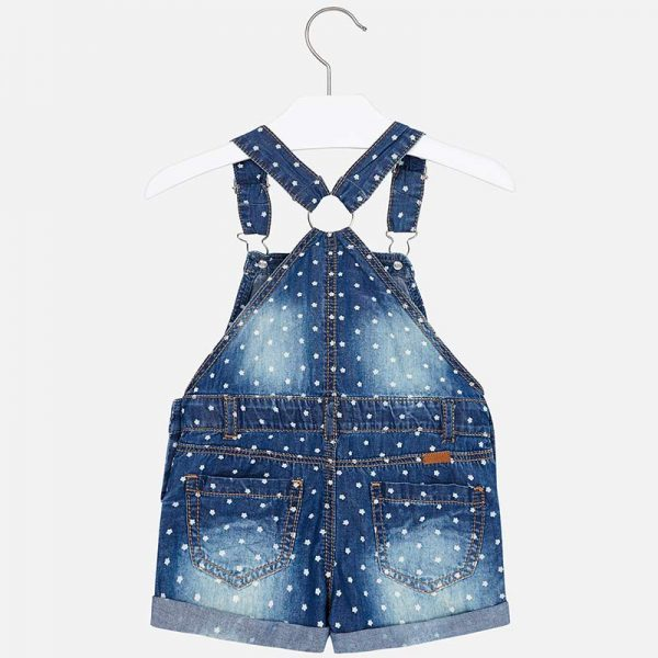 Mayoral Girls Polka Dot Denim Overall Shorts Back