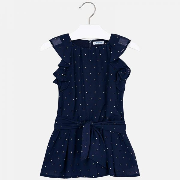 Mayoral Girls Chiffon Playsuit with Studs Front