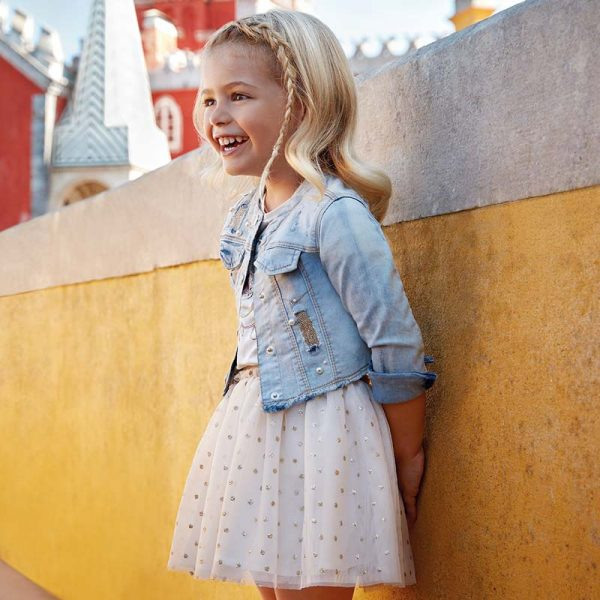 Mayoral Girls Tulle Skirt in Gold