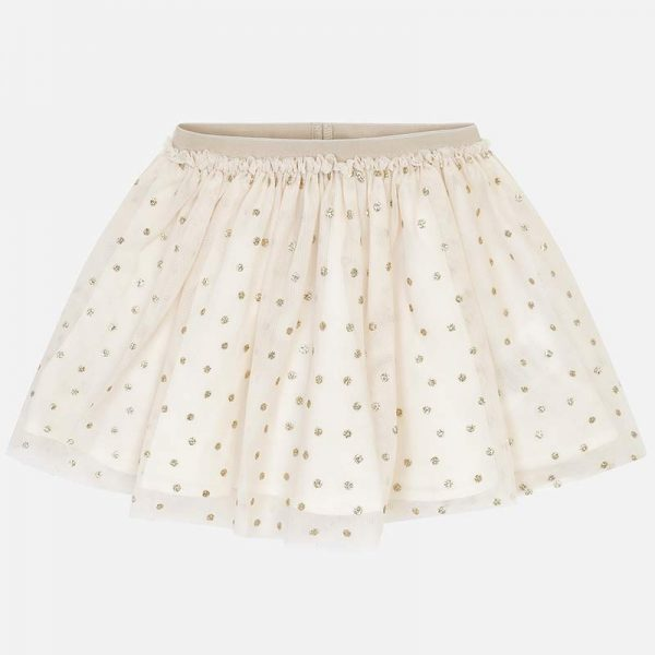 Mayoral Girls Tulle Skirt in Gold Front