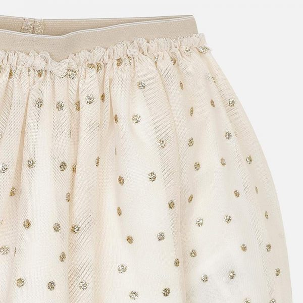 Mayoral Girls Tulle Skirt in Gold Closeup