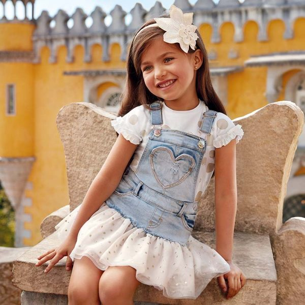 Mayoral Girls Tulle Overall Dress in Denim