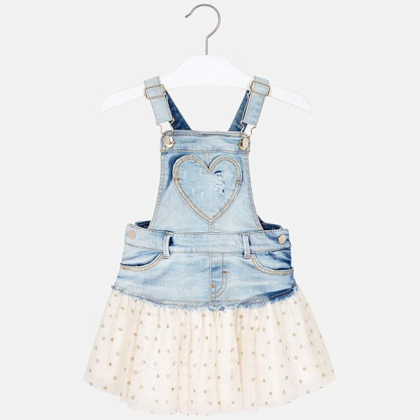 Mayoral Girls Tulle Overall Dress in Denim Front
