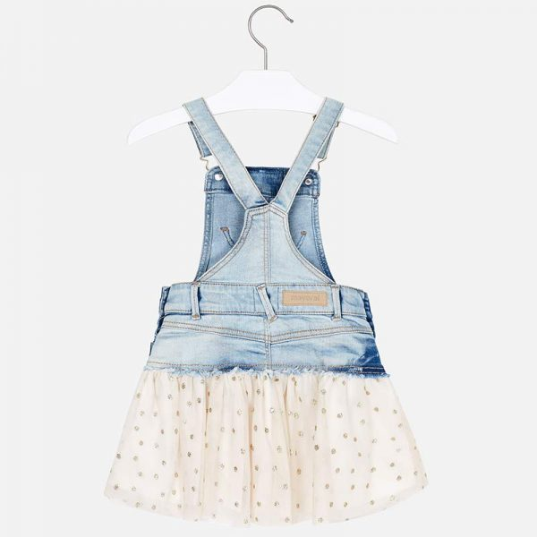 Mayoral Girls Tulle Overall Dress in Denim Back