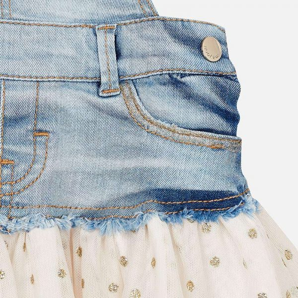 Mayoral Girls Tulle Overall Dress in Denim Closeup