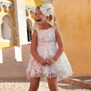 Mayoral Girls Embossed Tulle Flower Dress