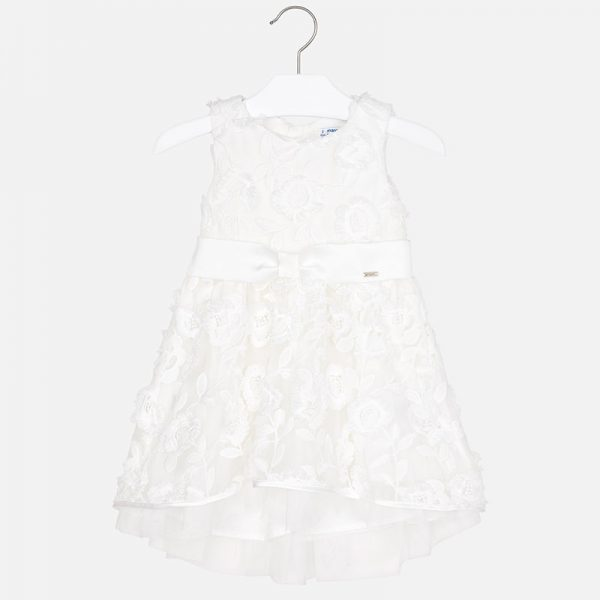 Mayoral Girls Embossed Tulle Flower Dress Front