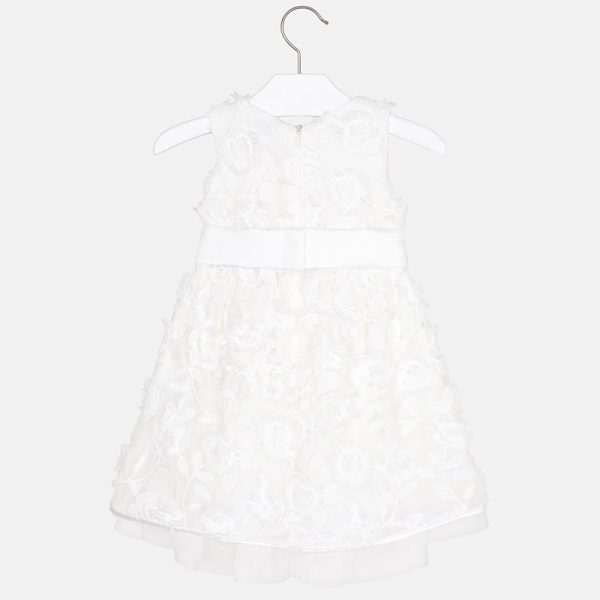 Mayoral Girls Embossed Tulle Flower Dress Back