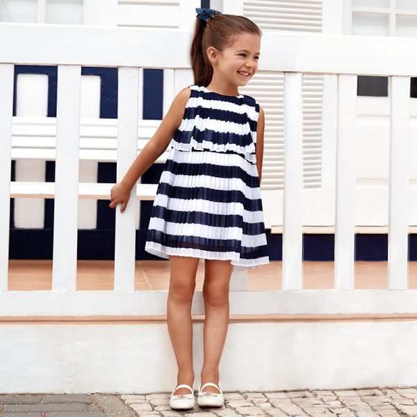 Mayoral Girls Pleated Striped Dress