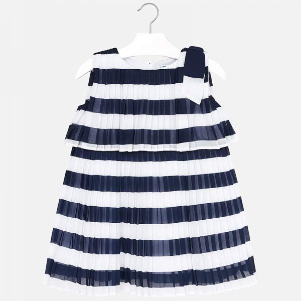 Mayoral Girls Pleated Striped Dress Front