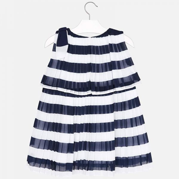 Mayoral Girls Pleated Striped Dress Back