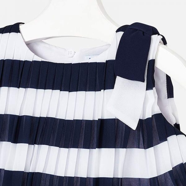 Mayoral Girls Pleated Striped Dress Closeup